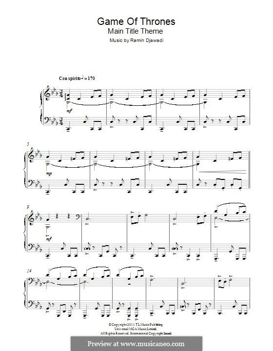 Game of Thrones: Für Klavier by Ramin Djawadi
