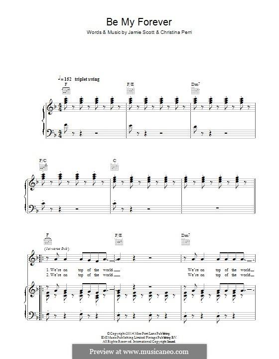 Be My Forever: Für Stimme und Klavier (oder Gitarre) by Christina Perri, Jamie Scott