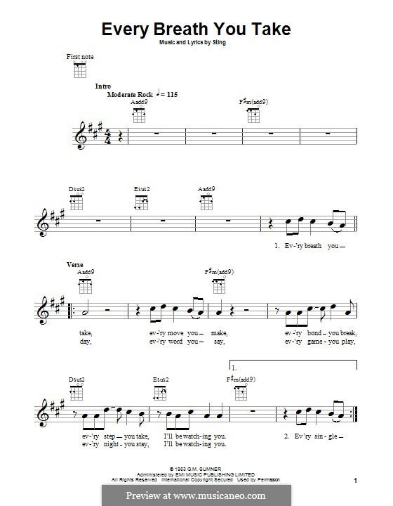 Every Breath You Take (The Police): Für Ukulele by Sting