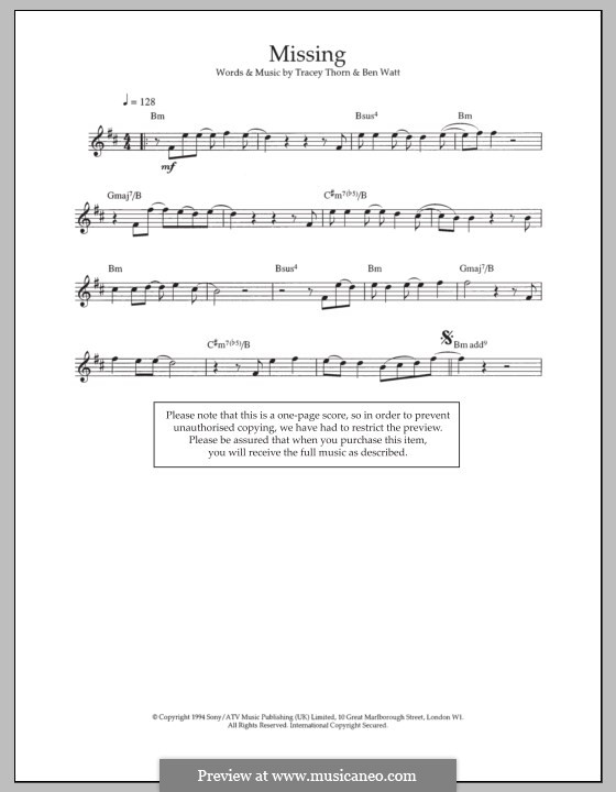 Missing (Everything But the Girl): Für Flöte by Benjamin Watt