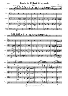 Rondo in g-Moll, B.181 Op.94: For cello and string orchestra - score and parts by Antonín Dvořák