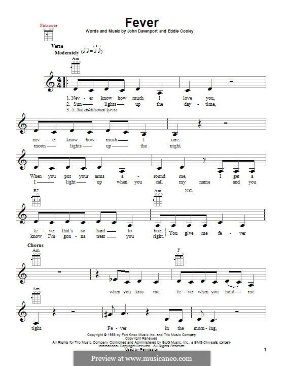 Fever: Für Ukulele by Eddie Cooley, John Davenport