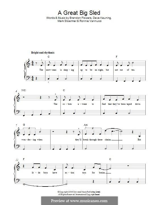 A Great Big Sled (The Killers): Für Klavier by Brandon Flowers, Dave Keuning, Mark Stoermer, Ronnie Vannucci