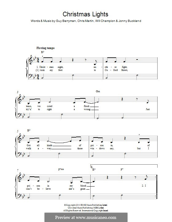 Christmas Lights (Coldplay): Für Gitarre by Chris Martin, Guy Berryman, Jonny Buckland, Will Champion
