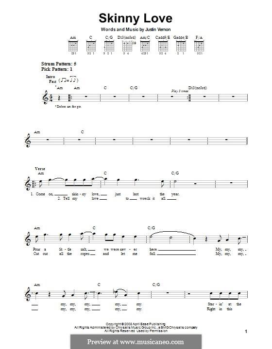 Skinny Love (Bon Iver): Für Gitarre by Justin Vernon