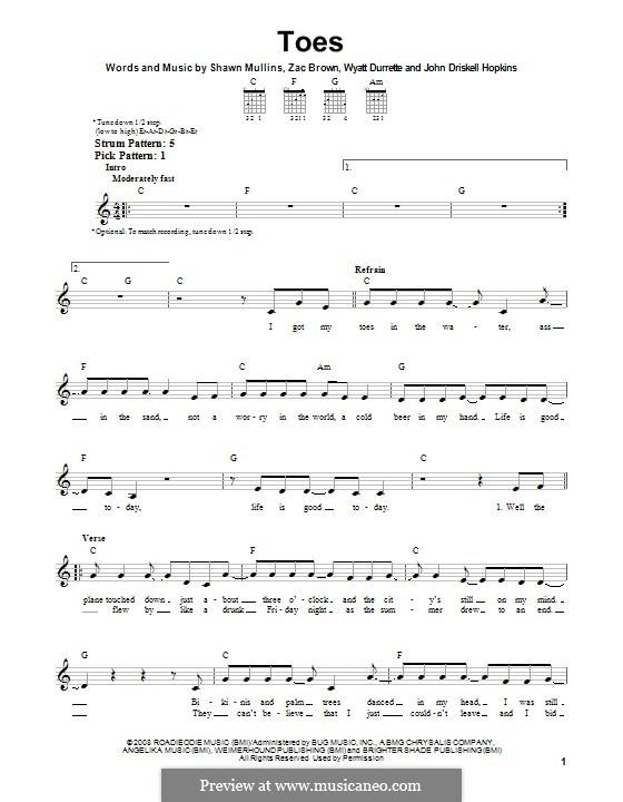 Toes (Zac Brown Band): Für Gitarre mit Tab by John Driskell Hopkins, Shawn Mullins, Wyatt Durrette, Zac Brown