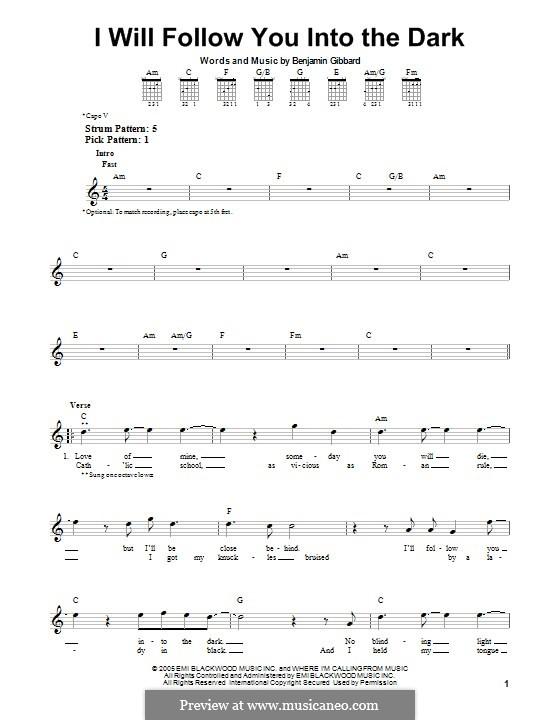 I Will Follow You Into the Dark (Death Cab for Cutie): Für Gitarre mit Tab by Benjamin Gibbard