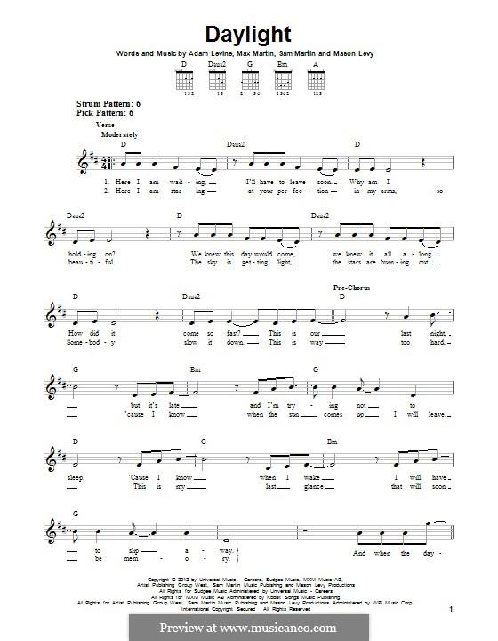 Daylight (Maroon 5): Für Gitarre by Adam Levine, Mason Levy, Max Martin, Sam Martin