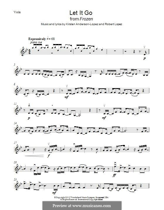 Let It Go (from Frozen): Für Violine by Robert Lopez, Kristen Anderson-Lopez