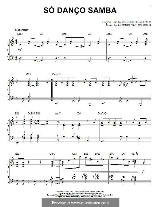 Só Danço Samba (Jazz 'n' Samba): Für Stimme und Klavier (oder Gitarre) by Antonio Carlos Jobim