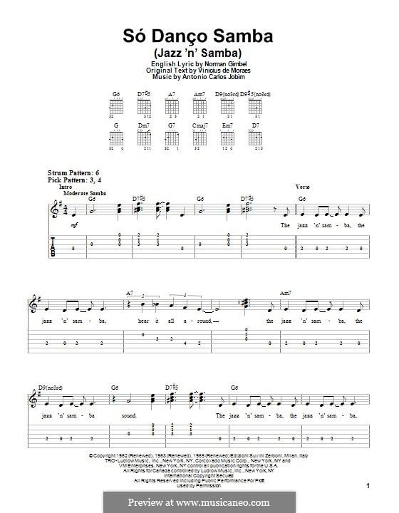 Só Danço Samba (Jazz 'n' Samba): Für Gitarre mit Tab by Antonio Carlos Jobim