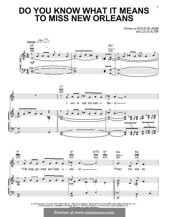 Do You Know What It Means to Miss New Orleans (Louis Armstrong): Für Stimme und Klavier (oder Gitarre) by Eddie De Lange, Louis Alter