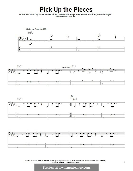 Pick Up the Pieces (Average White Band): Für Bassgitarre mit Tabulatur by Hamish Stuart, Robert McIntosh, Roger Ball, Alan Gorrie, Malcolm Duncan, Owen McIntyre