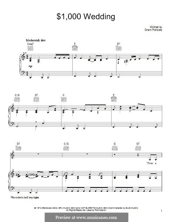 $1,000 Wedding: Für Stimme und Klavier (oder Gitarre) by Gram Parsons