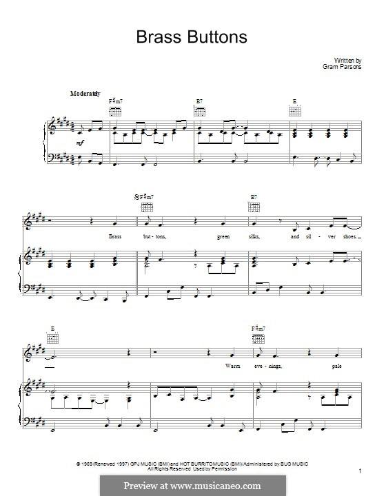 Brass Buttons: Für Stimme und Klavier (oder Gitarre) by Gram Parsons