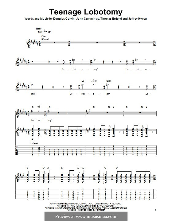 Teenage Lobotomy (Ramones): Für Gitarre mit Tab by Dee Dee Ramone, Jeffrey Hyman, John Cummings, Thomas Erdelyi