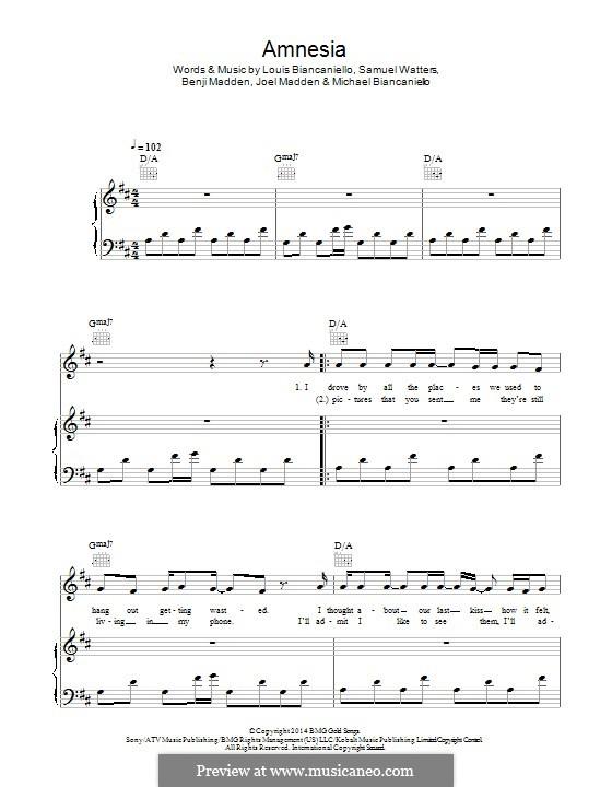 Amnesia (5 Seconds of Summer): Für Stimme und Klavier (oder Gitarre) by Benji Madden, Joel Madden, Louis Biancaniello, Samuel Watters, Michael Biancaniello
