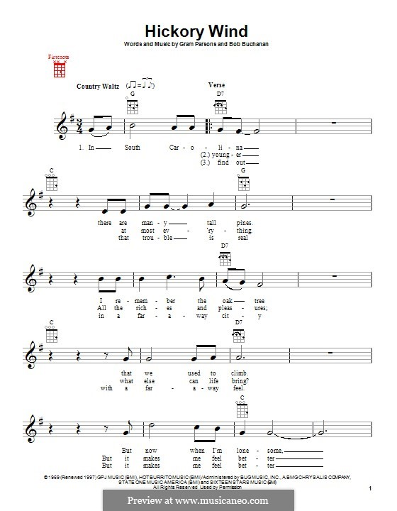 Hickory Wind: Für Ukulele by Bob Buchanan, Gram Parsons