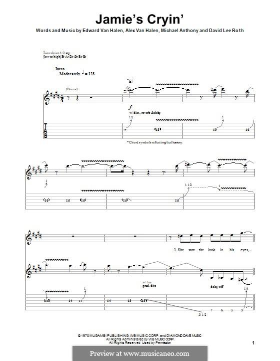 Jamie's Cryin' (Van Halen): Für Gitarre mit Tab by Alex Van Halen, David Lee Roth, Edward Van Halen, Michael Anthony