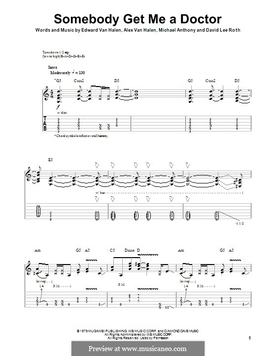 Somebody Get Me a Doctor (Van Halen): Für Gitarre mit Tab by Alex Van Halen, Edward Van Halen, Michael Anthony