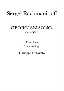Six Romances, Op.4: No.4 Do Not Sing, My Beauty (Georgian Song), for piano by Sergei Rachmaninoff
