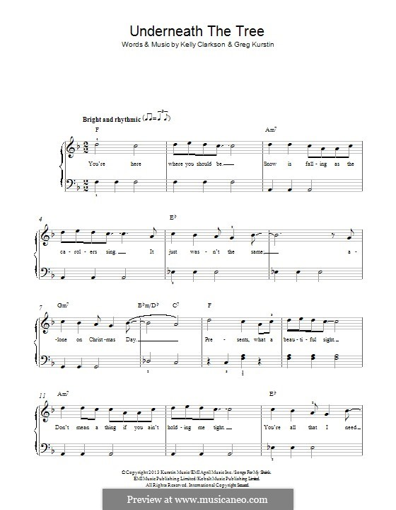 Underneath the Tree: Für Klavier by Greg Kurstin, Kelly Clarkson