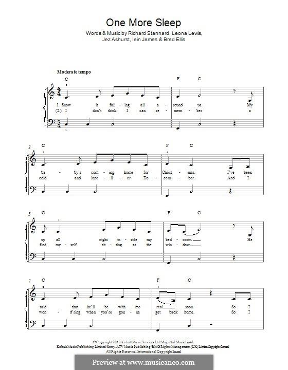 One More Sleep: Für Klavier by Jez Ashurst, Leona Lewis, Richard Stannard, Iain James, Brad Ellis