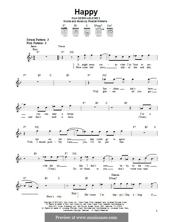 Happy (from Despicable Me 2): Für Gitarre mit Tab by Pharrell Williams