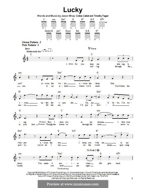 Lucky: Für Gitarre mit Tab by Colbie Caillat, Jason Mraz, Timothy Fagan