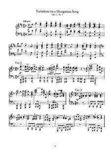 Variationen über ungarisches Lied, Op.21 No.2: Für Klavier by Johannes Brahms