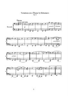 Variationen über ein Thema von Schumann, Op.23: Für Klavier, vierhändig by Johannes Brahms
