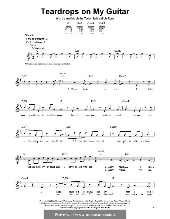 Teardrops on My Guitar: Für Gitarre mit Tab by Liz Rose, Taylor Swift
