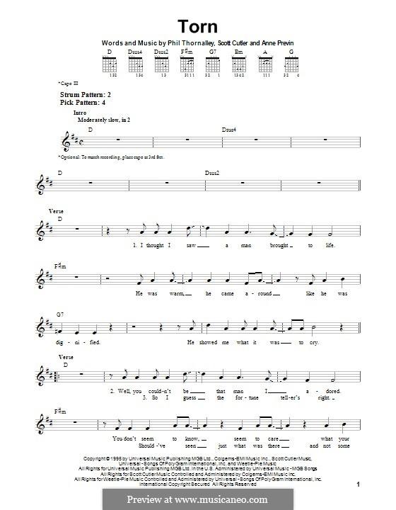 Torn (Natalie Imbruglia): Für Gitarre mit Tab by Anne Preven, Phil Thornalley, Scott Cutler