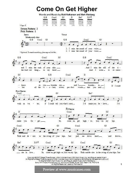 Come On Get Higher: Für Gitarre mit Tab by Mark Weinberg