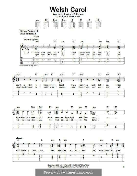 Welsh Carol: Für Gitarre mit Tab by folklore