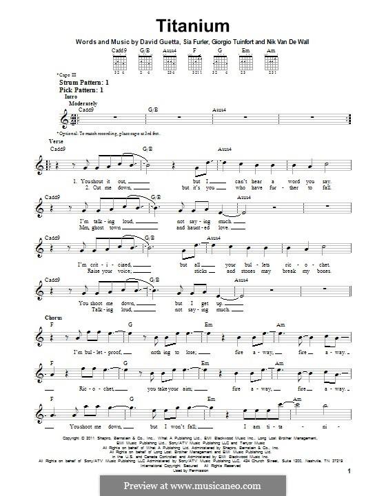 Titanium: Für Gitarre mit Tab by David Guetta, Giorgio Tuinfort, Nick van de Wall, Sia Furler