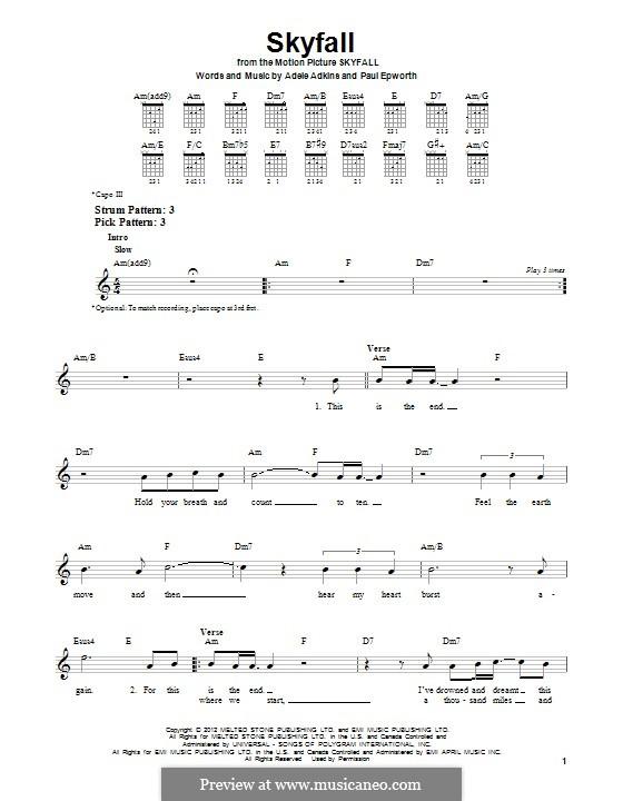 Instrumental version: Für Gitarre mit Tab by Adele, Paul Epworth