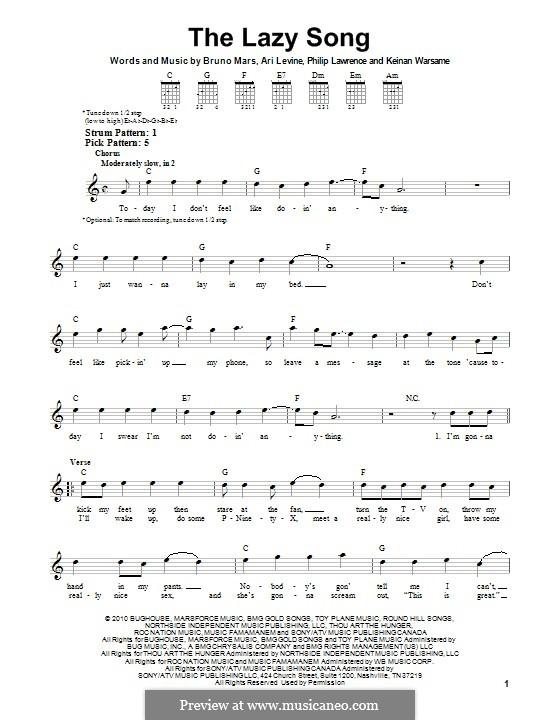 The Lazy Song: Für Gitarre mit Tab by Ari Levine, Keinan Abdi Warsame, Bruno Mars, Philip Lawrence