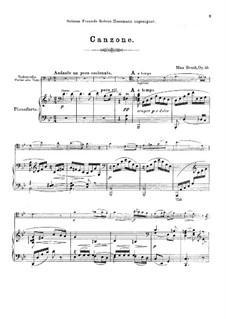Kanzone, Op.55: Für Cello (Violine oder Bratsche) und Klavier by Max Bruch