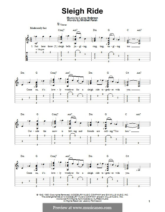 Sleigh Ride: Für Gitarre mit Tab by Leroy Anderson