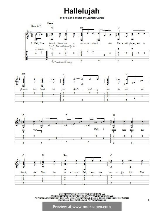 Hallelujah: Für Gitarre mit Tab by Leonard Cohen