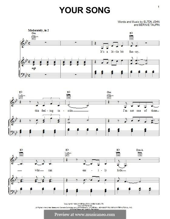 Your Song: Für Stimme und Klavier (oder Gitarre) by Elton John