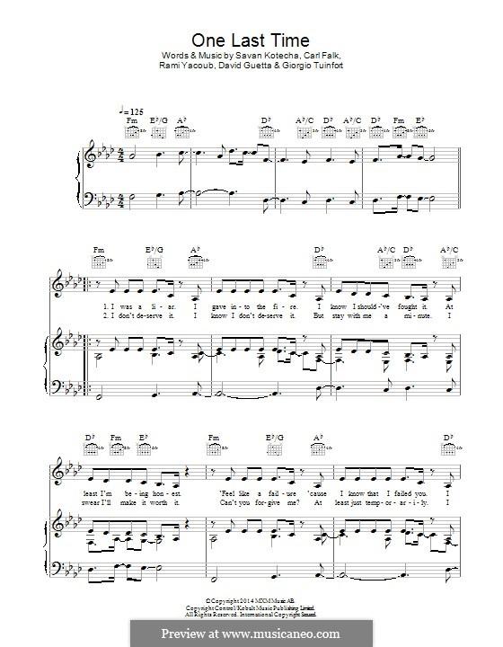 One Last Time: Für Stimme und Klavier (oder Gitarre) by Carl Falk, David Guetta, Giorgio Tuinfort, Rami Yacoub, Savan Kotecha