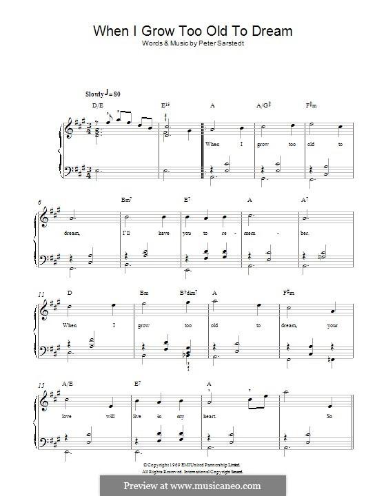When I Grow Too Old to Dream: Für Klavier by Sigmund Romberg