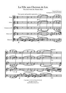 Nr.8 Das Mädchen mit dem flachsfarbenen Haar: For wind quintet by Claude Debussy