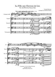 Nr.8 Das Mädchen mit dem flachsfarbenen Haar: For clarinet in Bb and string quartet by Claude Debussy