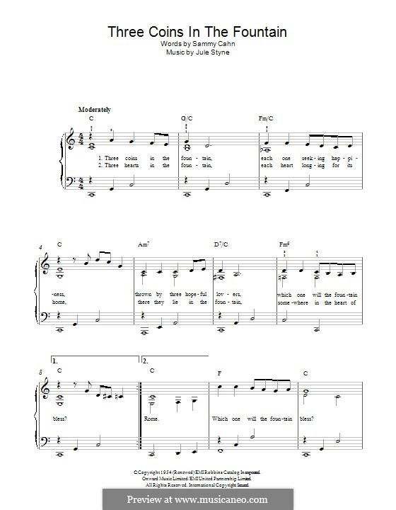Three Coins in the Fountain (Frank Sinatra): Für Klavier by Jule Styne