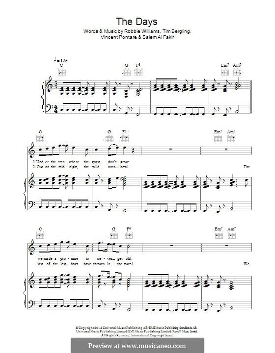 The Days (feat. Robbie Williams): Für Stimme und Klavier (oder Gitarre) by Robbie Williams, Avicii, Vincent Pontare, Salem Al Fakir