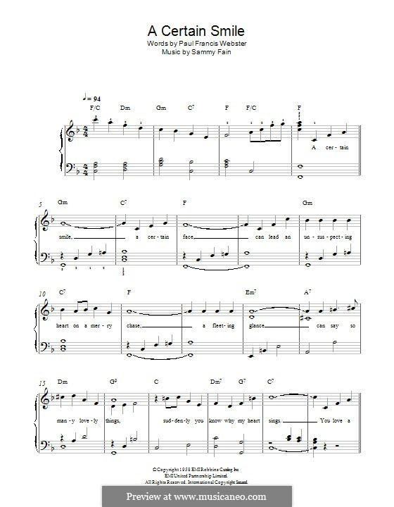 A Certain Smile (Johnny Mathis): Für Klavier by Sammy Fain