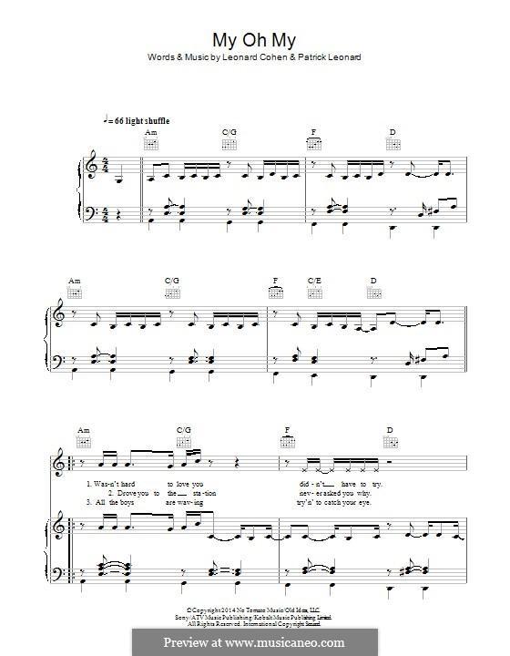 My Oh My: Für Stimme und Klavier (oder Gitarre) by Leonard Cohen, Patrick Leonard